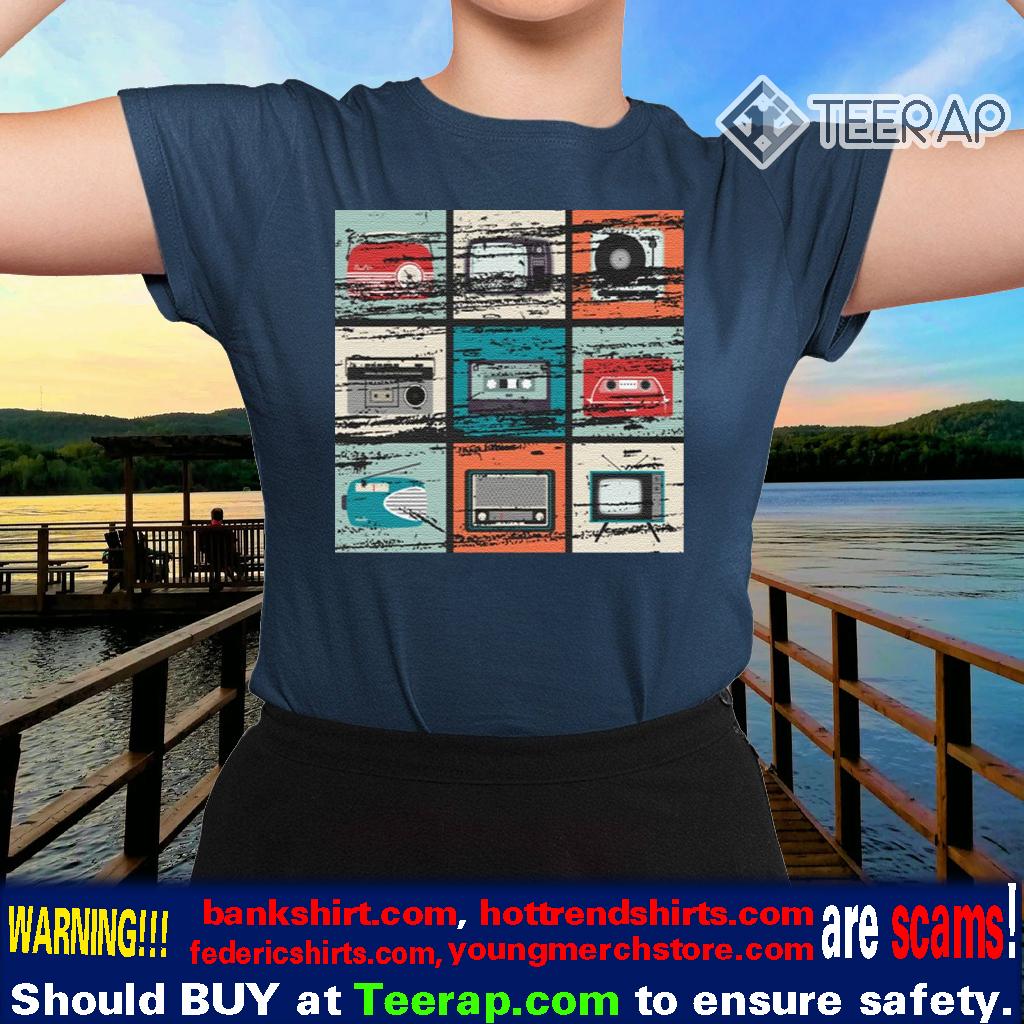 Vintage TV Radio Boom Box Cassette Tape Record Player TShirts