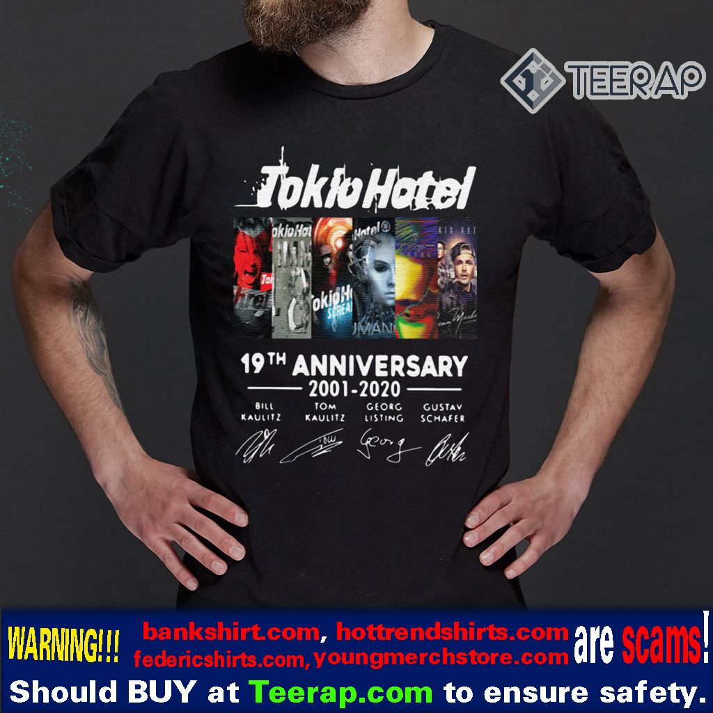 TOKIO HOTEL 19TH ANNIVERSARY 2001 2020 THANK YOU FOR THE MEMORIES T-SHIRTS