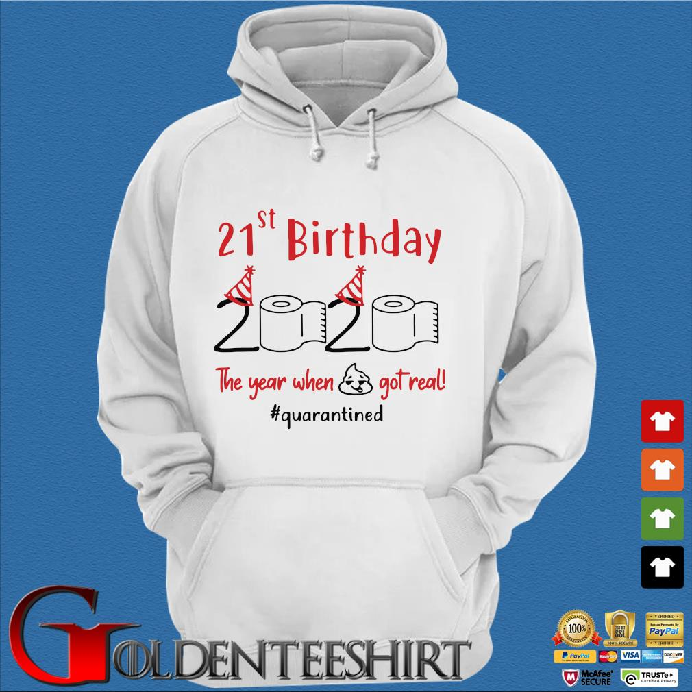21st Birthday 2020 The Year When Shit Got Real Quarantined Shirts Trang Hoodie