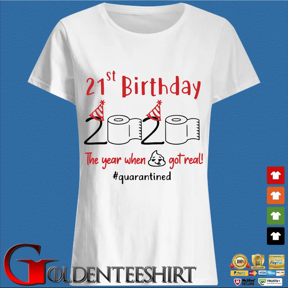 21st Birthday 2020 The Year When Shit Got Real Quarantined Shirts Trang Ladies