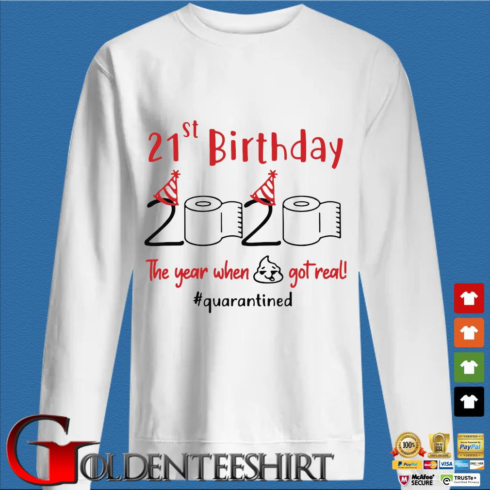 21st Birthday 2020 The Year When Shit Got Real Quarantined Shirts trang Sweater