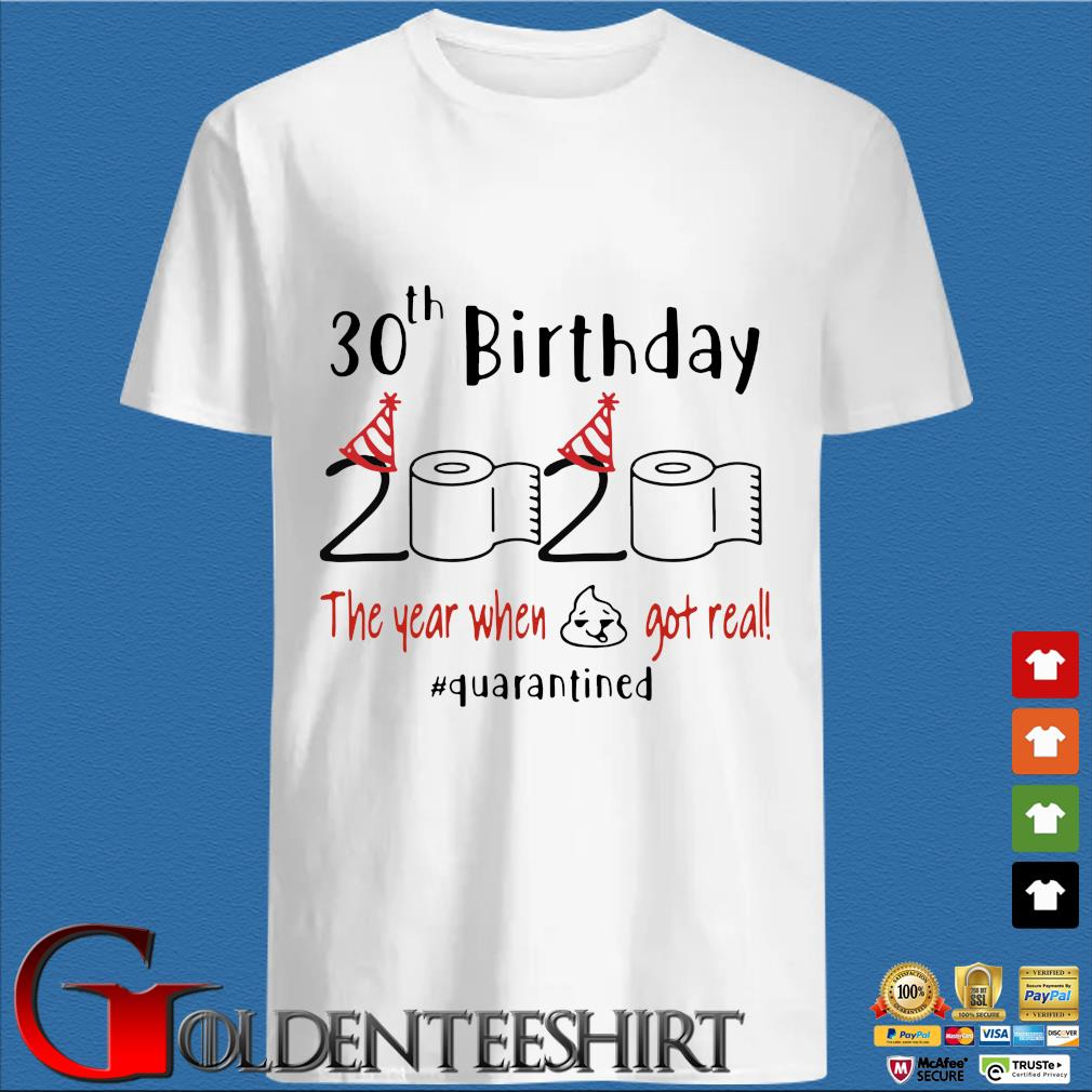 30th Birthday 2020 Toilet Paper The Year When Shit Got Real Quarantined Shirt
