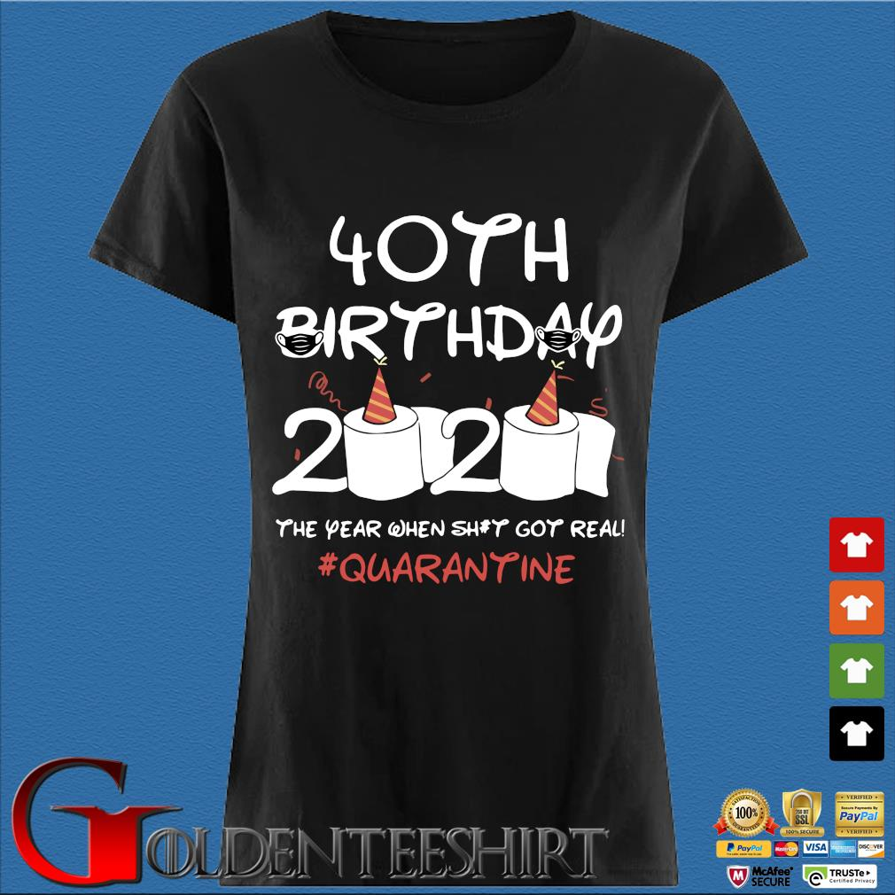40th Birthday 2020 #Quarantine Shirt – Birthday 2020 The Year When Shit Got Real Quarantined T-Shirts Den Ladies