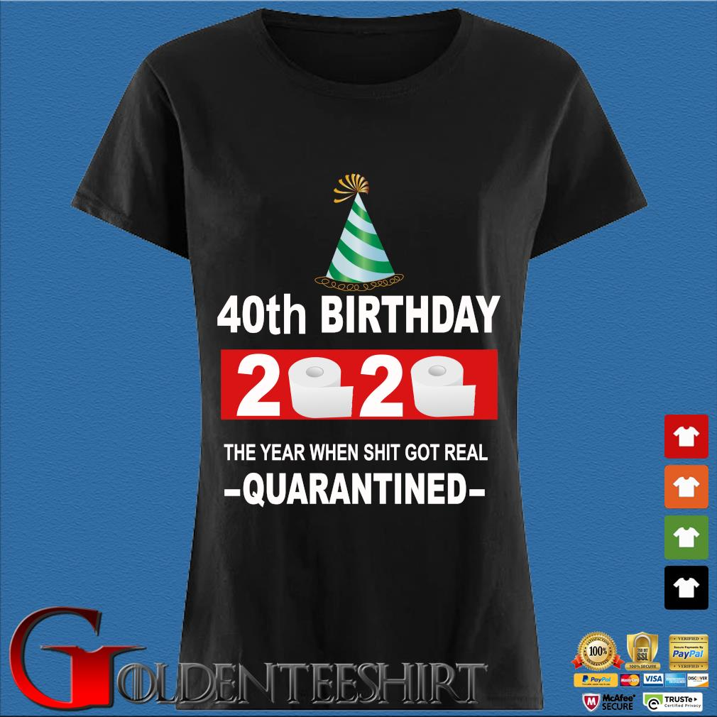 40th Happy Birthday 2020 The Year When Shit Got Real Quarantined Shirt Den Ladies