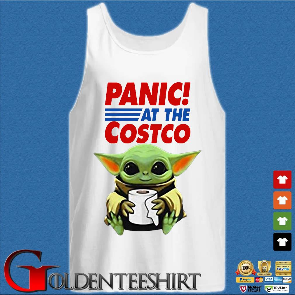 Baby Yoda Hug Paper Toilet Panic At The Costco Coronavirus Shirt Tank top trắng