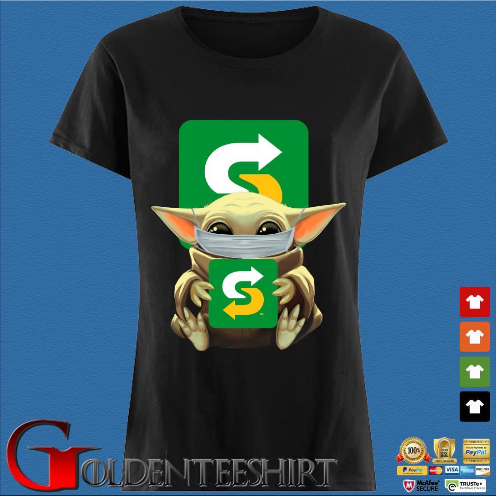 Baby Yoda Mask Hug Subway Shirt Den Ladies