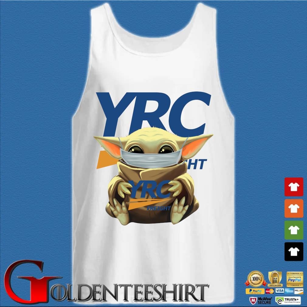 Baby Yoda Mask Hug YRC Freight Shirt Tank top trắng