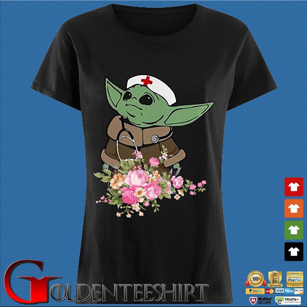 Baby Yoda Star Wars Nurse Flower Tee Shirts Den Ladies