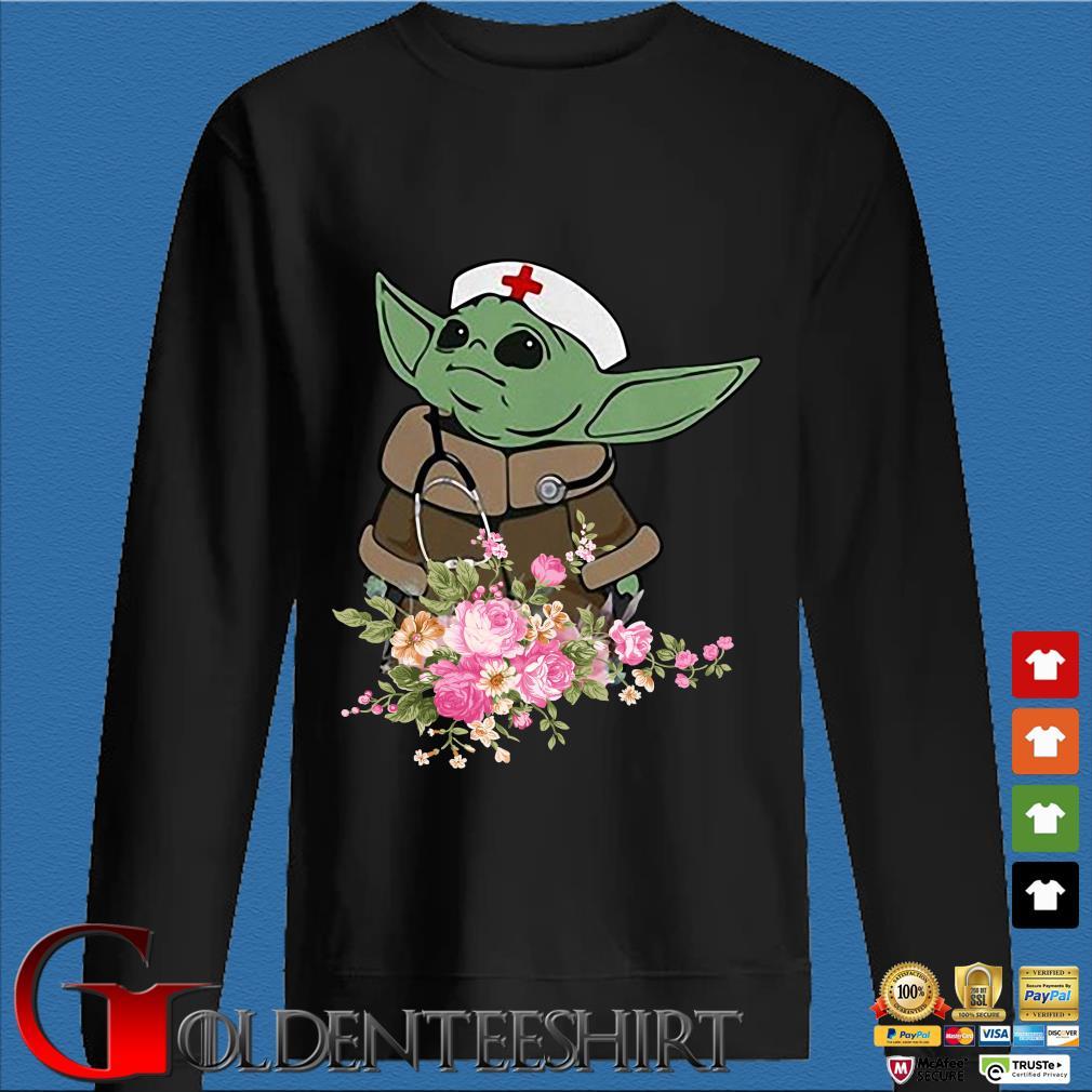 Baby Yoda Star Wars Nurse Flower Tee Shirts Den Sweater