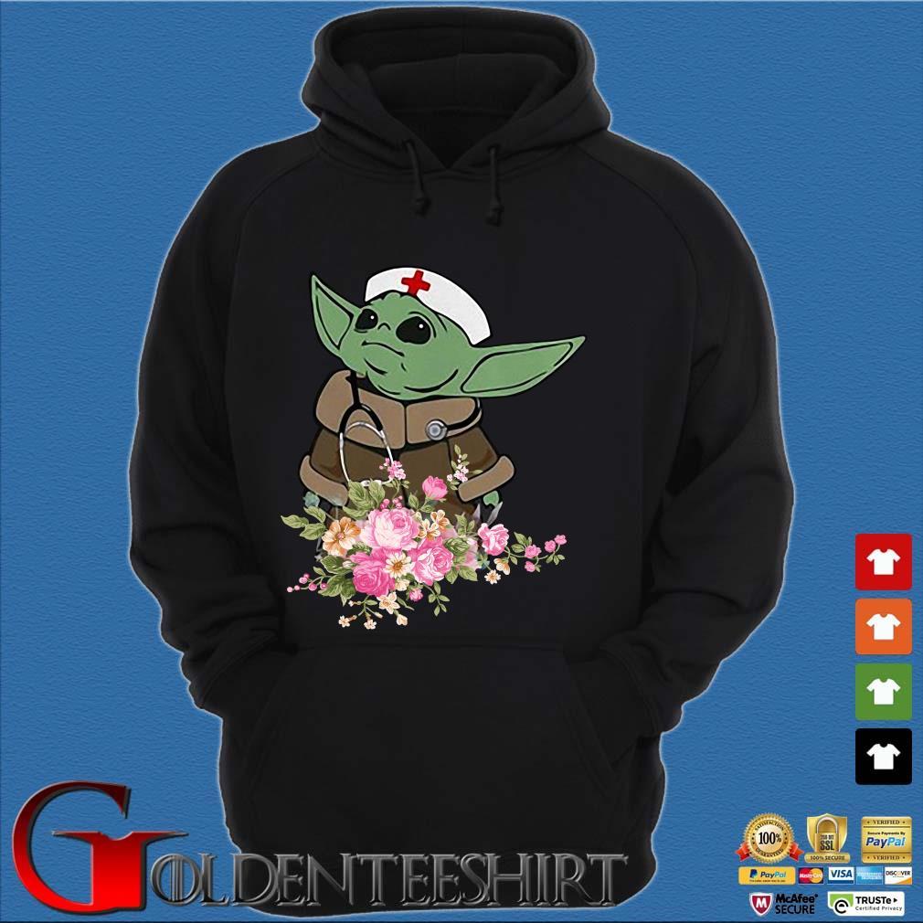 Baby Yoda Star Wars Nurse Flower Tee Shirts Hoodie đen