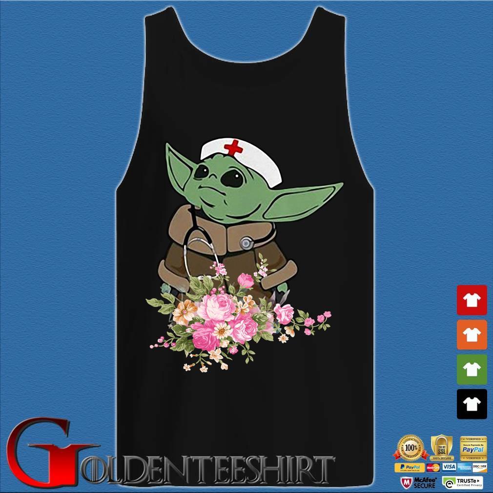 Baby Yoda Star Wars Nurse Flower Tee Shirts Tank top den
