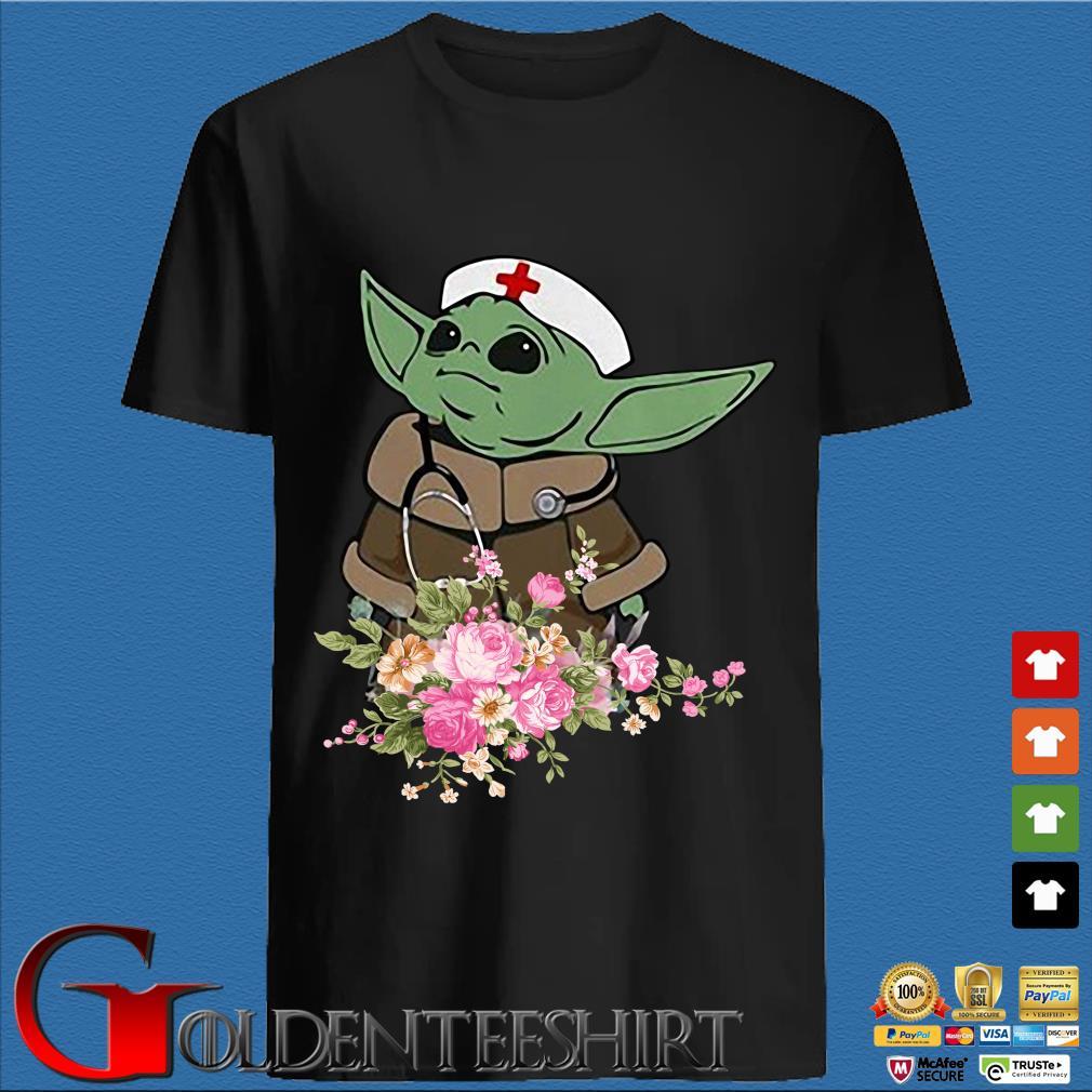 Baby Yoda Star Wars Nurse Flower Tee Shirts