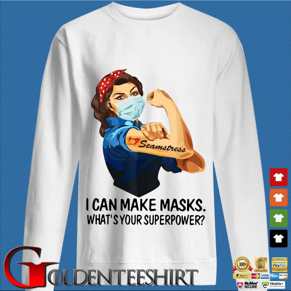 Strong Girl Tattoo Quilter I Can Make Masks What's Your Superpower Shirt trang Sweater