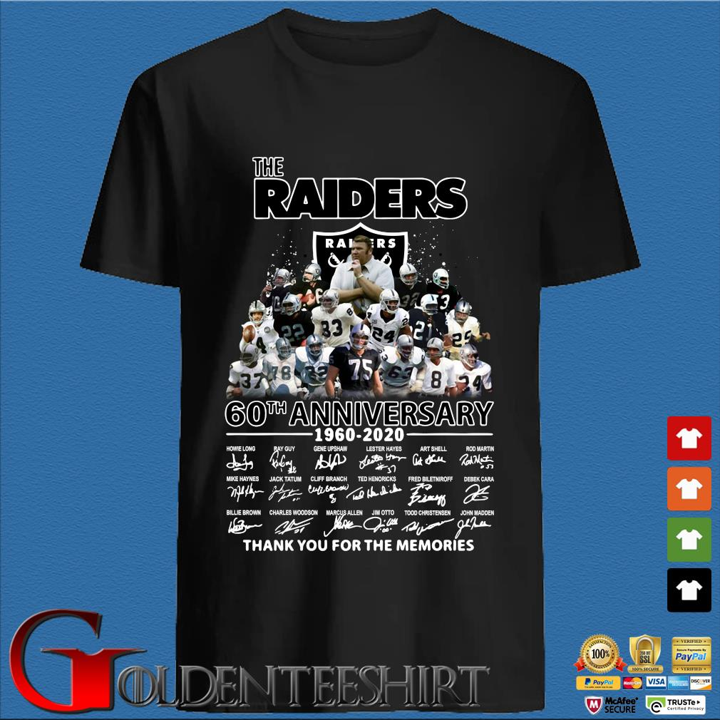 The Raiders 60th Anniversary 1960-2020 Thank You For The Memories Shirt
