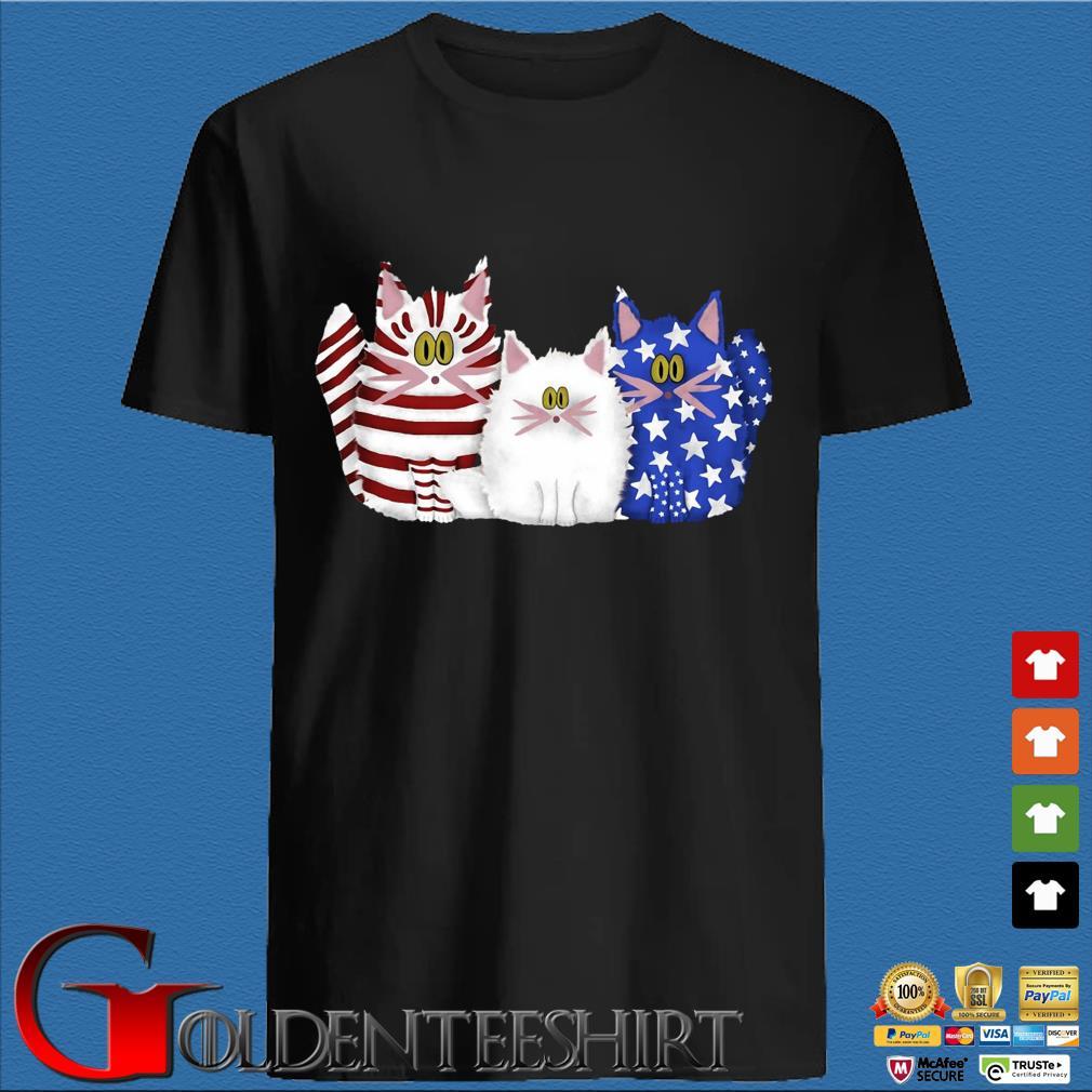 Three Cat Red White Blue Amirican Shirt