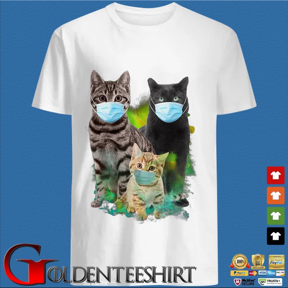 Three Cat Wear Face Mask Tee Shirt