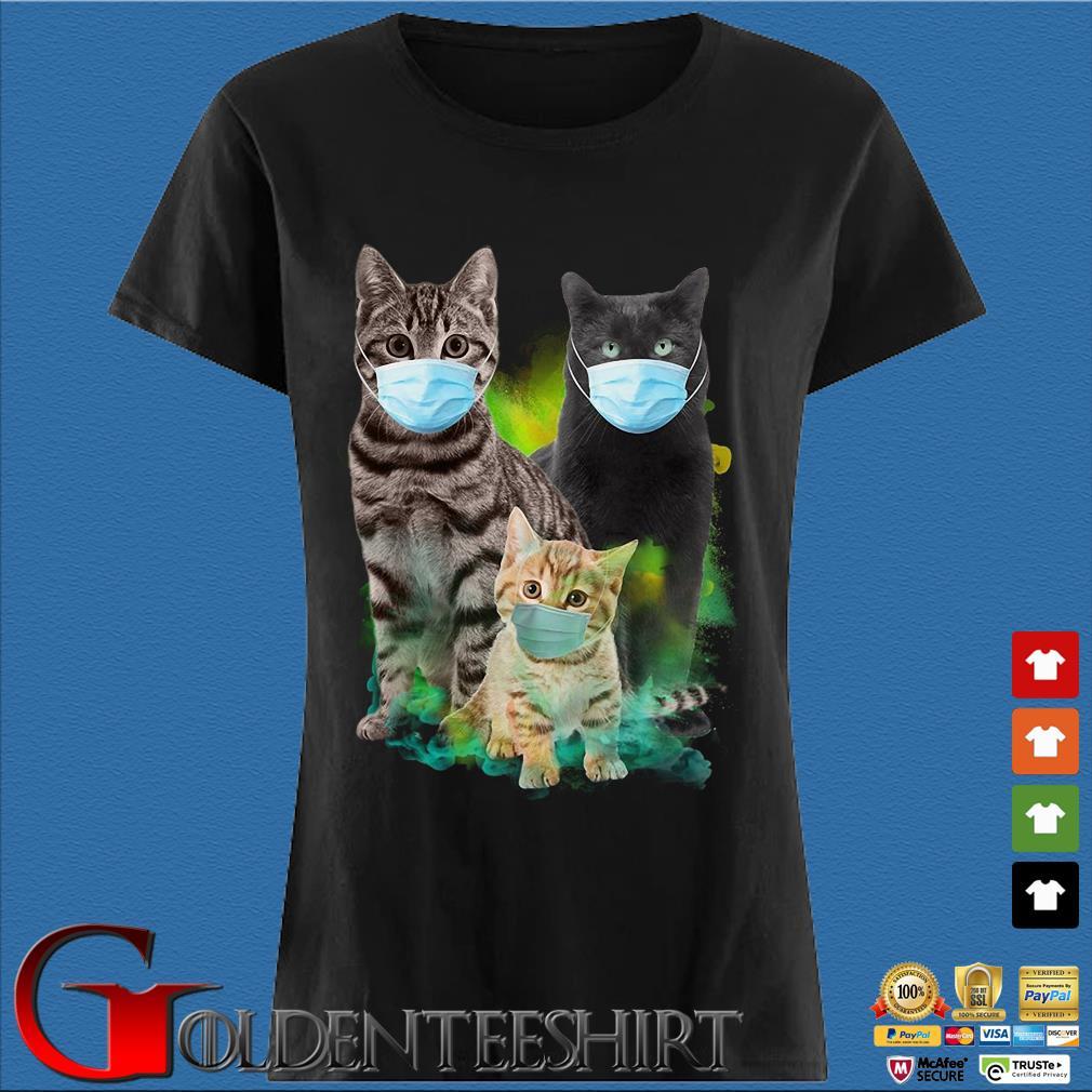 Three Cats Wear Medical Mask Shirt Den Ladies