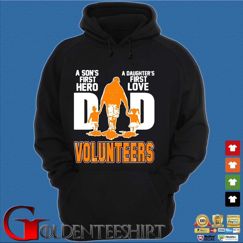 A Son's First Hero A Daughter's First Love Dad Volunteers Shirt Hoodie đen