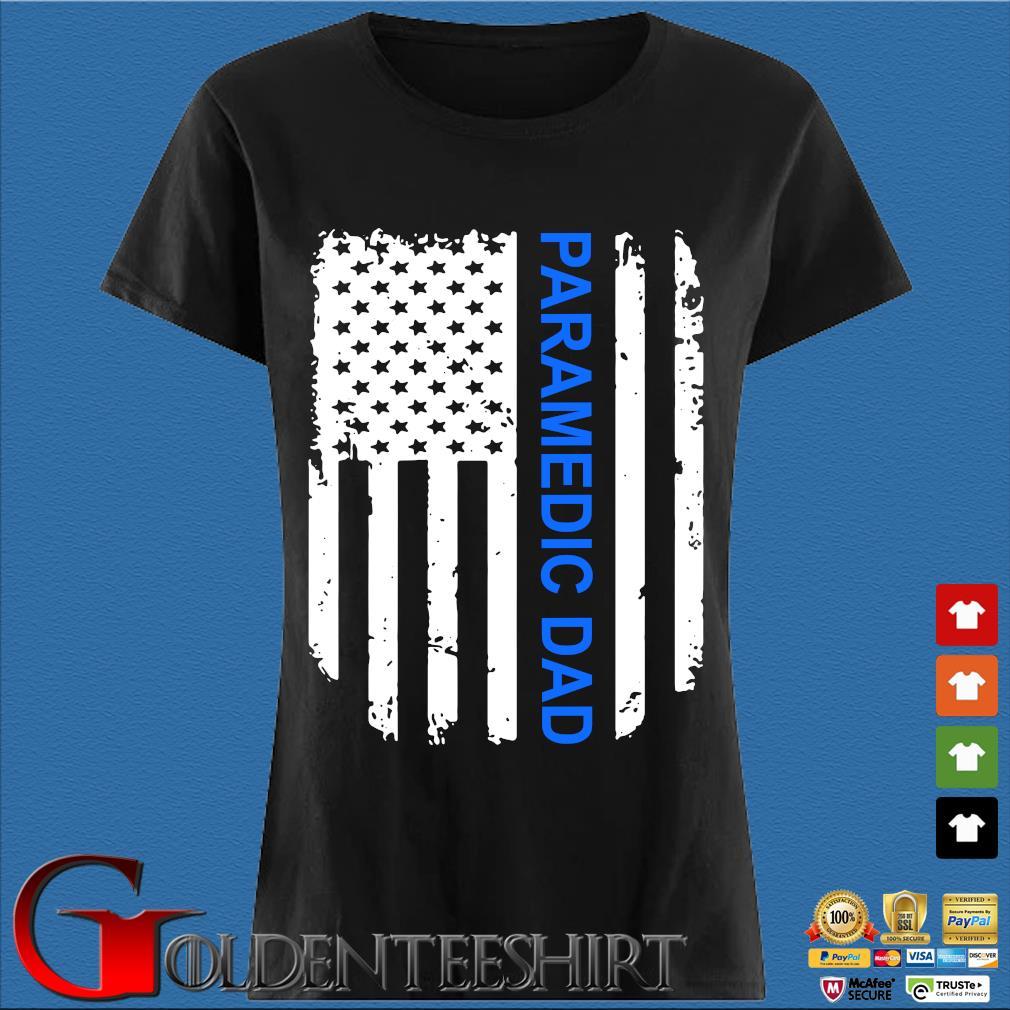 American Flag Proud Paramedic Dad Vintage T-Shirt Den Ladies
