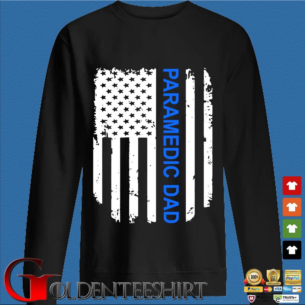 American Flag Proud Paramedic Dad Vintage T-Shirt Den Sweater