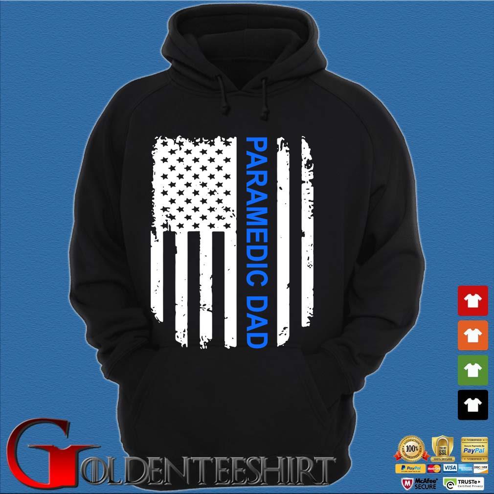 American Flag Proud Paramedic Dad Vintage T-Shirt Hoodie đen