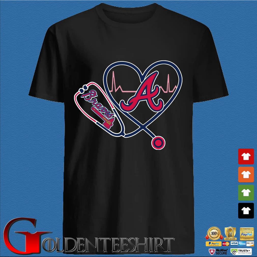 Atlanta Braves Nurse Stethoscope Love Heartbeat Shirt