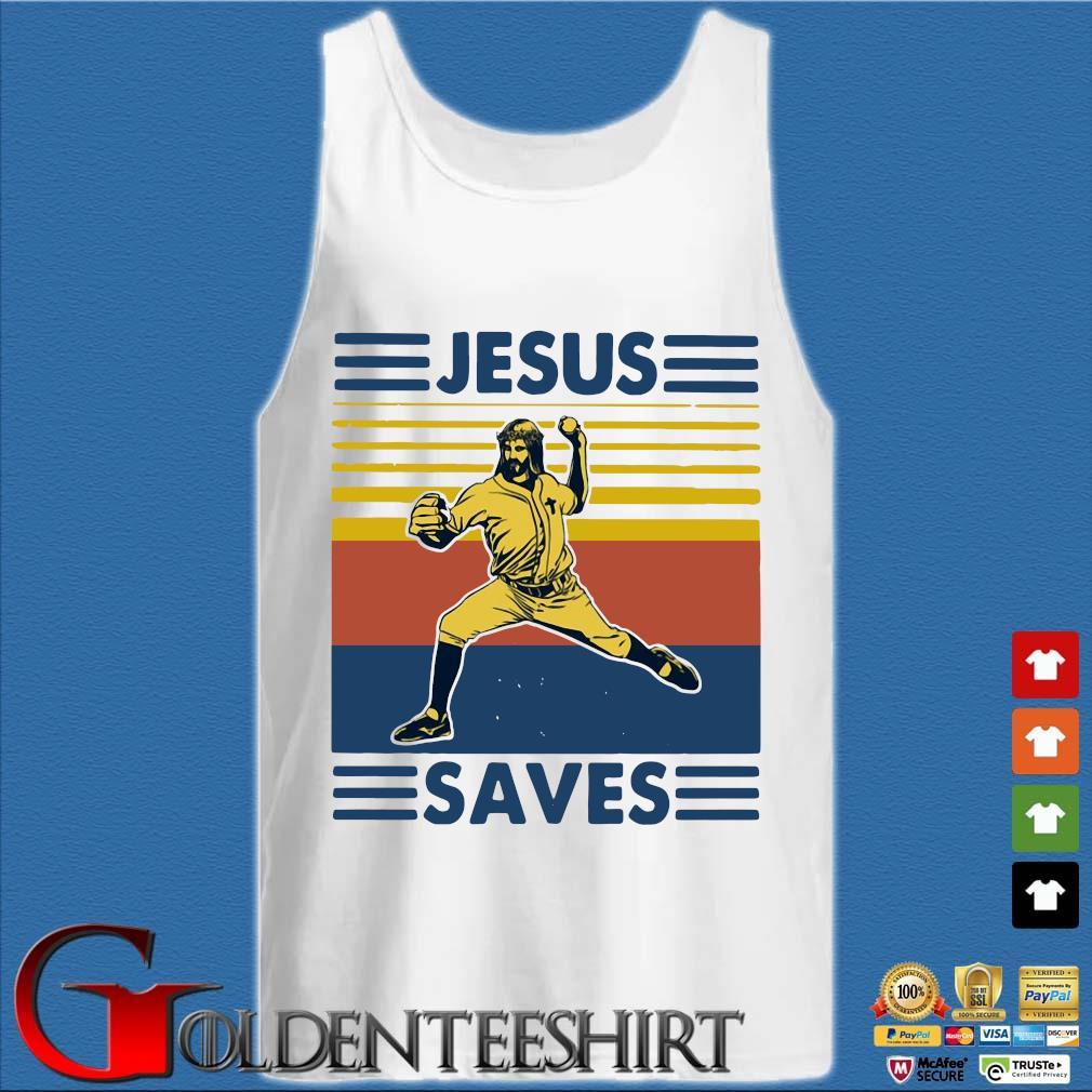 Baseball Jesus Saves Vintage Shirt Tank top trắng