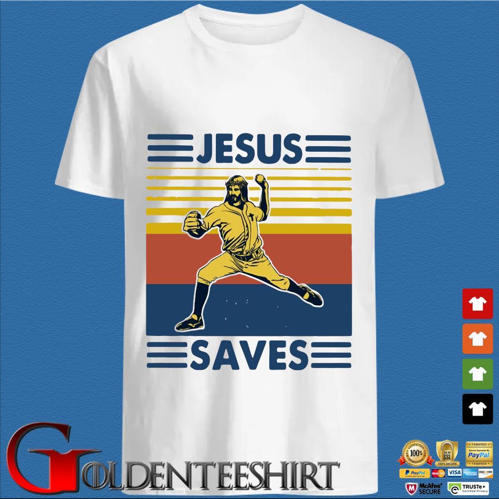 Baseball Jesus Saves Vintage Shirt
