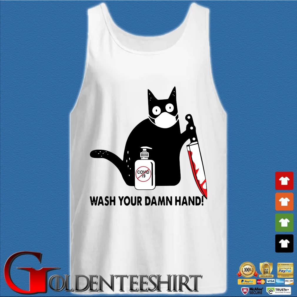 Black Cat Mask Hold Knife Wash Your Damn Hand Shirts Tank top trắng