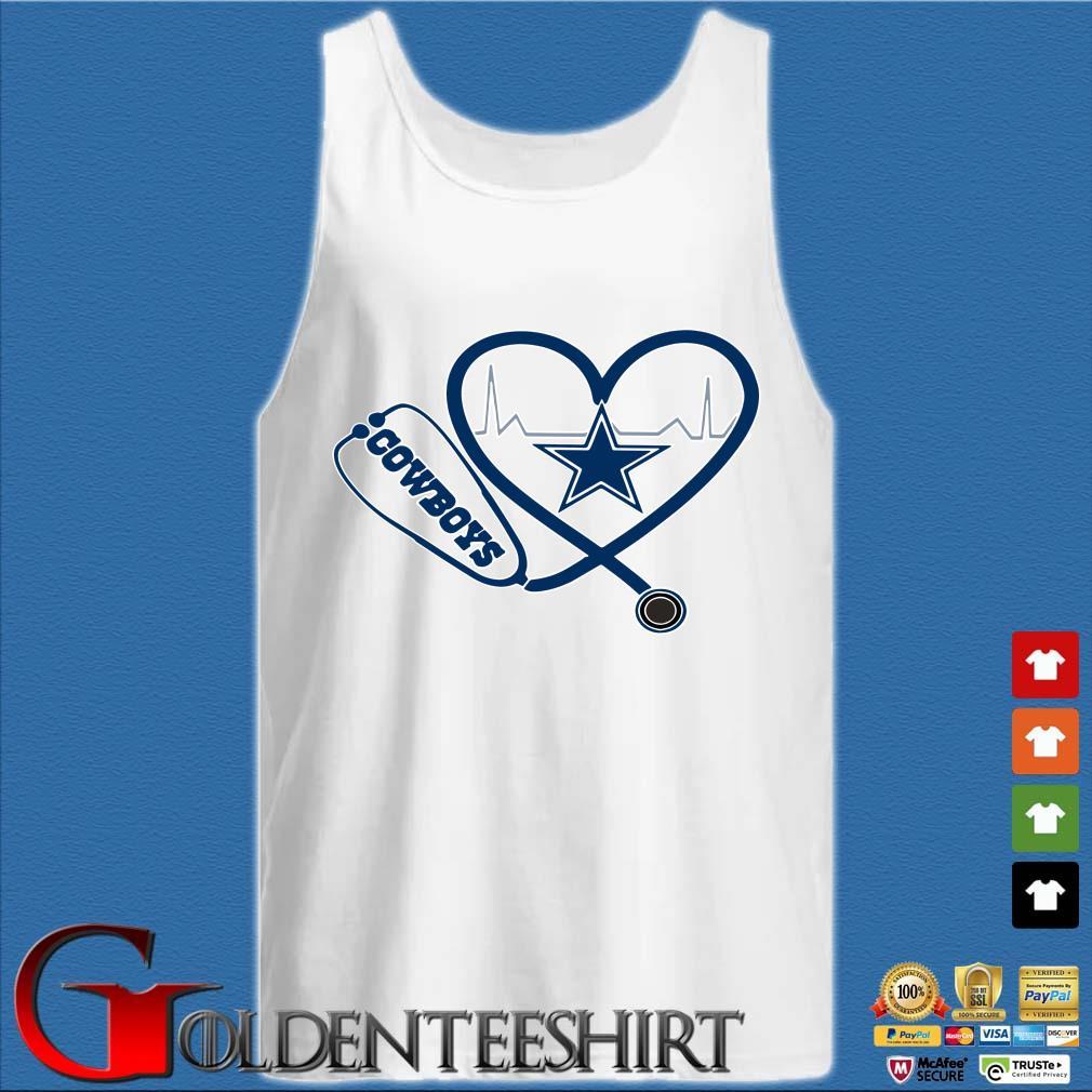 Heartbeat Nurse Love Dallas Cowboys Shirt Tank top trắng