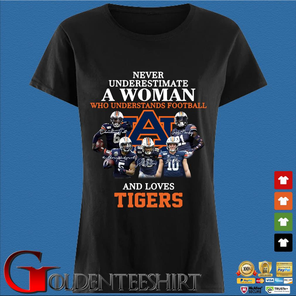 Never Underestimate A Woman Who Understands Football And Love Tiger Shirt Den Ladies