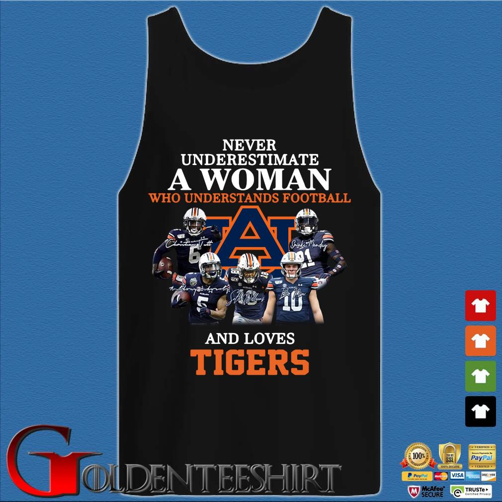 Never Underestimate A Woman Who Understands Football And Love Tiger Shirt Tank top den