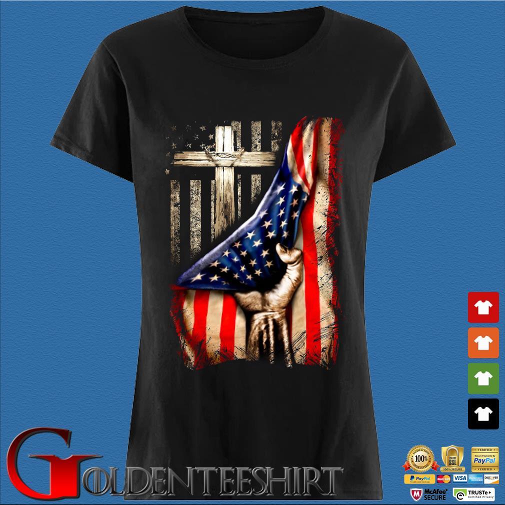 Strong Nurse American Flag Cross Shirt Den Ladies