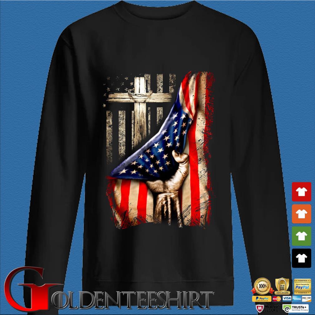 Strong Nurse American Flag Cross Shirt Den Sweater