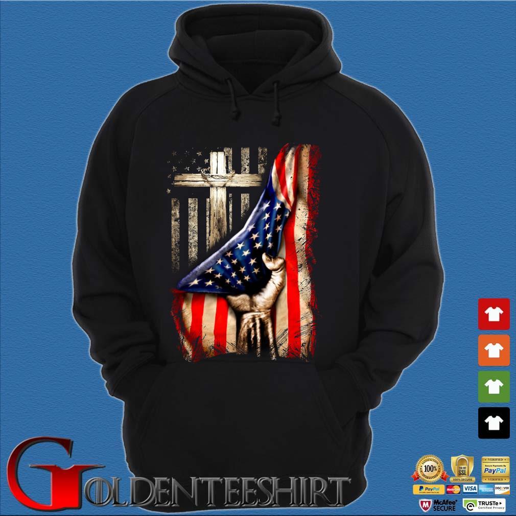 Strong Nurse American Flag Cross Shirt Hoodie đen