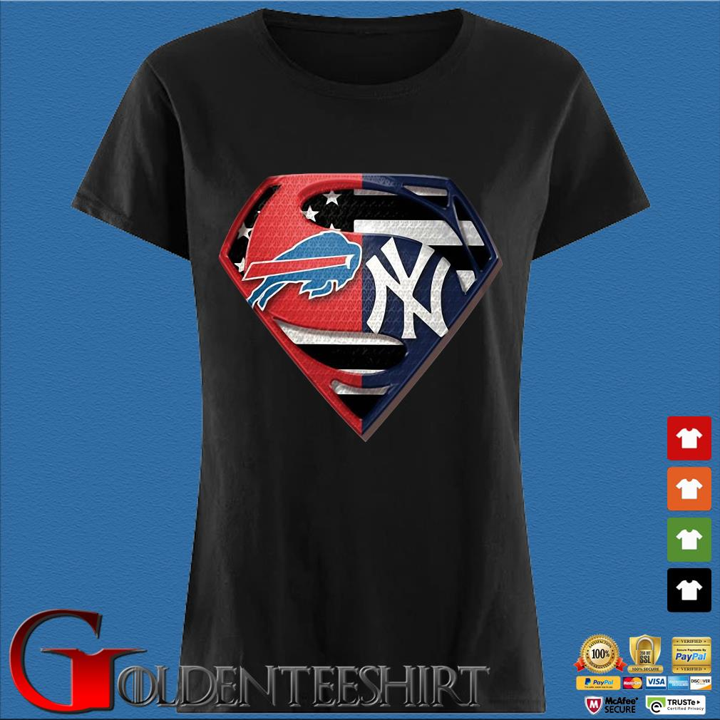 Superman Buffalo Bills And New York Yankees T-Shirt Den Ladies