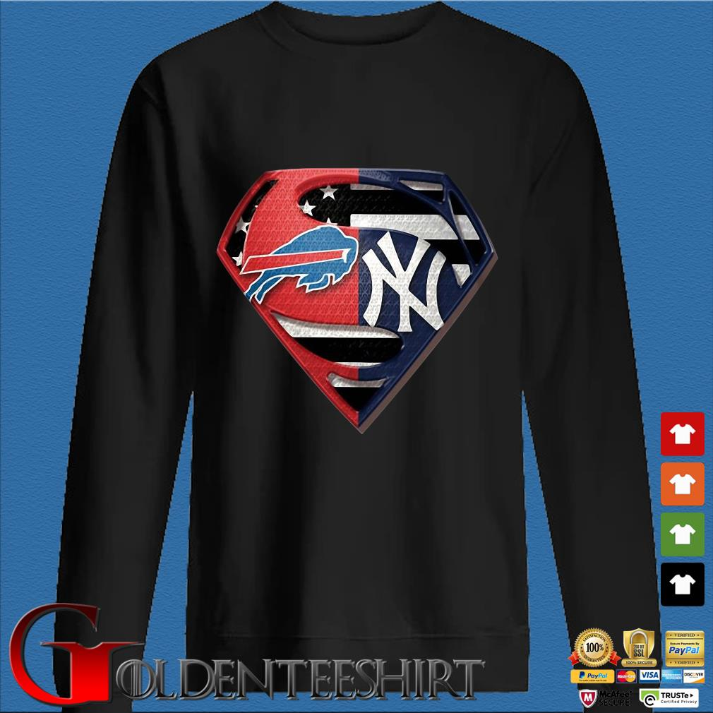 Superman Buffalo Bills And New York Yankees T-Shirt Den Sweater