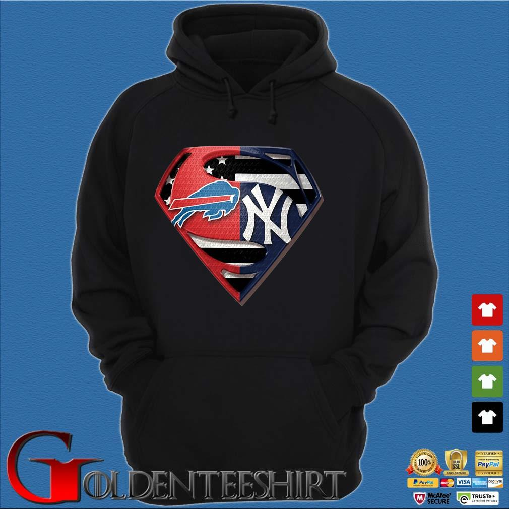 Superman Buffalo Bills And New York Yankees T-Shirt Hoodie đen