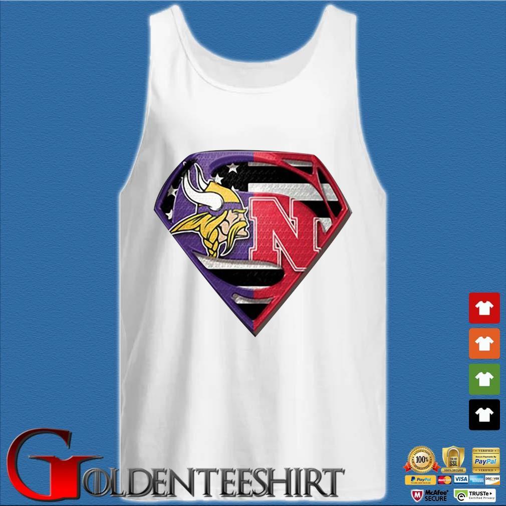 Superman New Minnesota Vikings And Nebraska Cornhuskers Shirt Tank top trắng