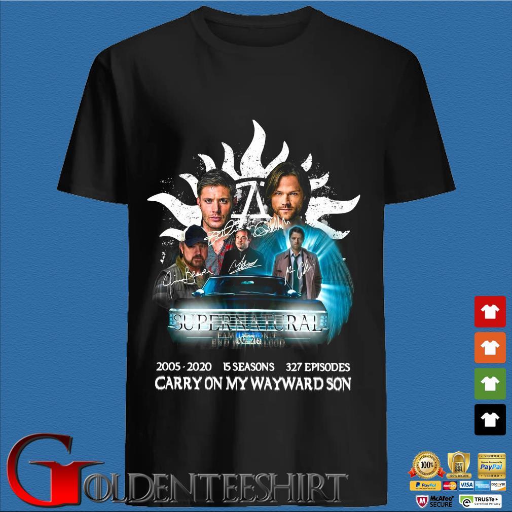 Supernatural 2005-2020 15 Seasons 327 Episodes Carry On My Wayward Son Shirt