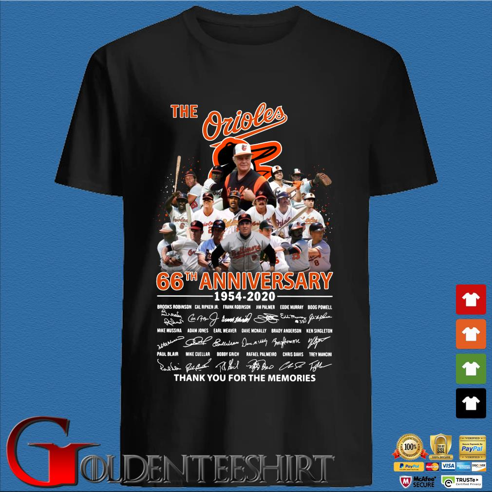 The Baltimore Orioles 66th Anniversary 1954-2020 Signature Thank You For The Memories Shirt
