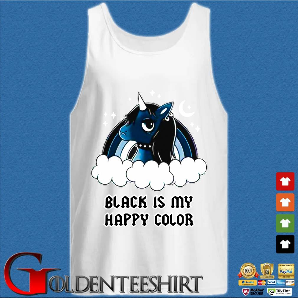 Unicorn Black Is My Happy Color Shirt Tank top trắng