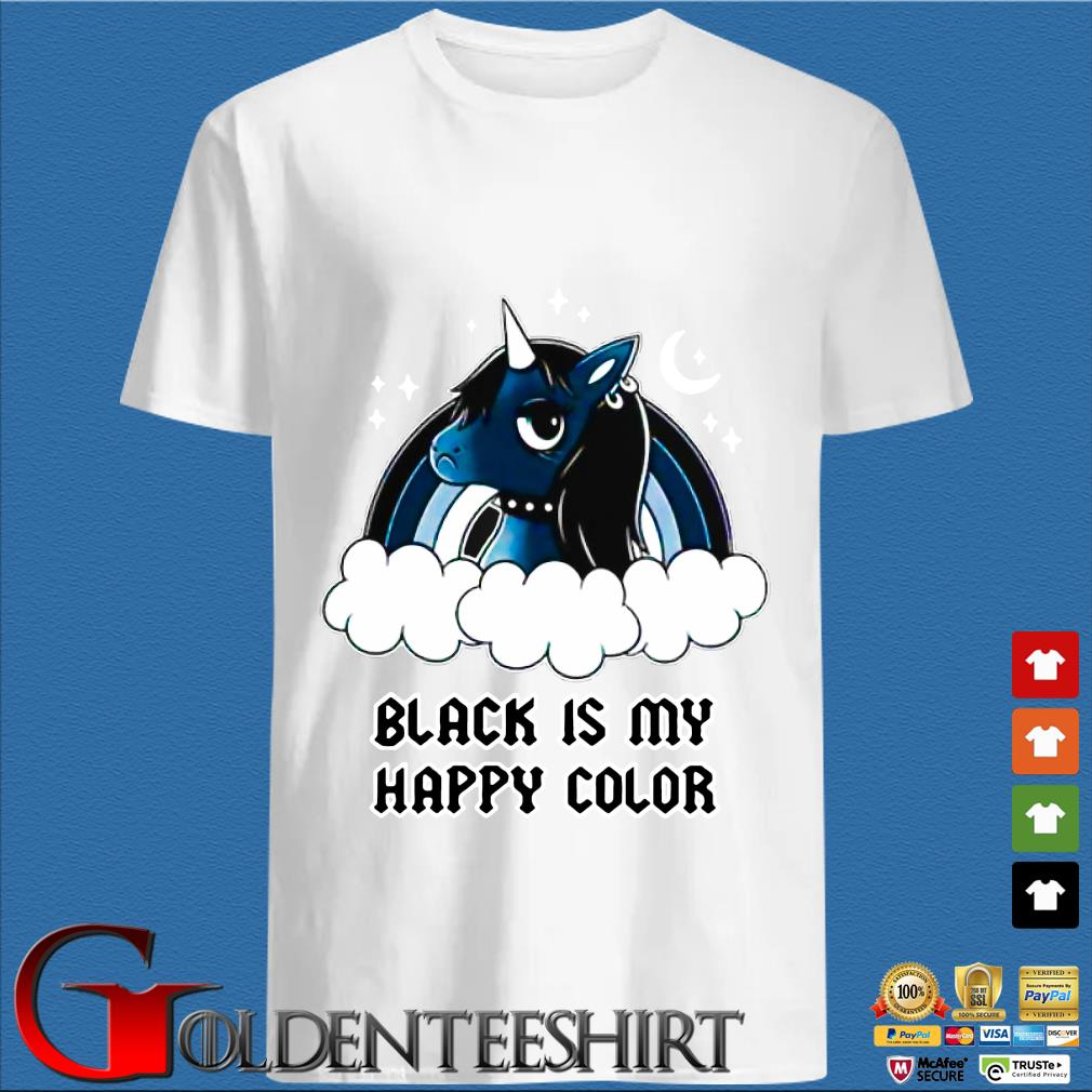 Unicorn Black Is My Happy Color Shirt