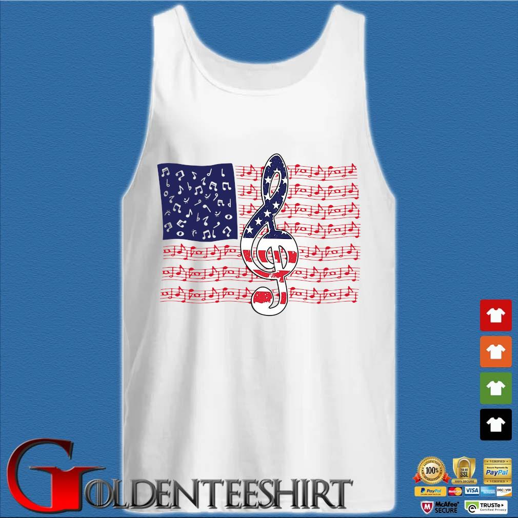 4th Of July Independence Music Note American Flag Shirt Tank top trắng