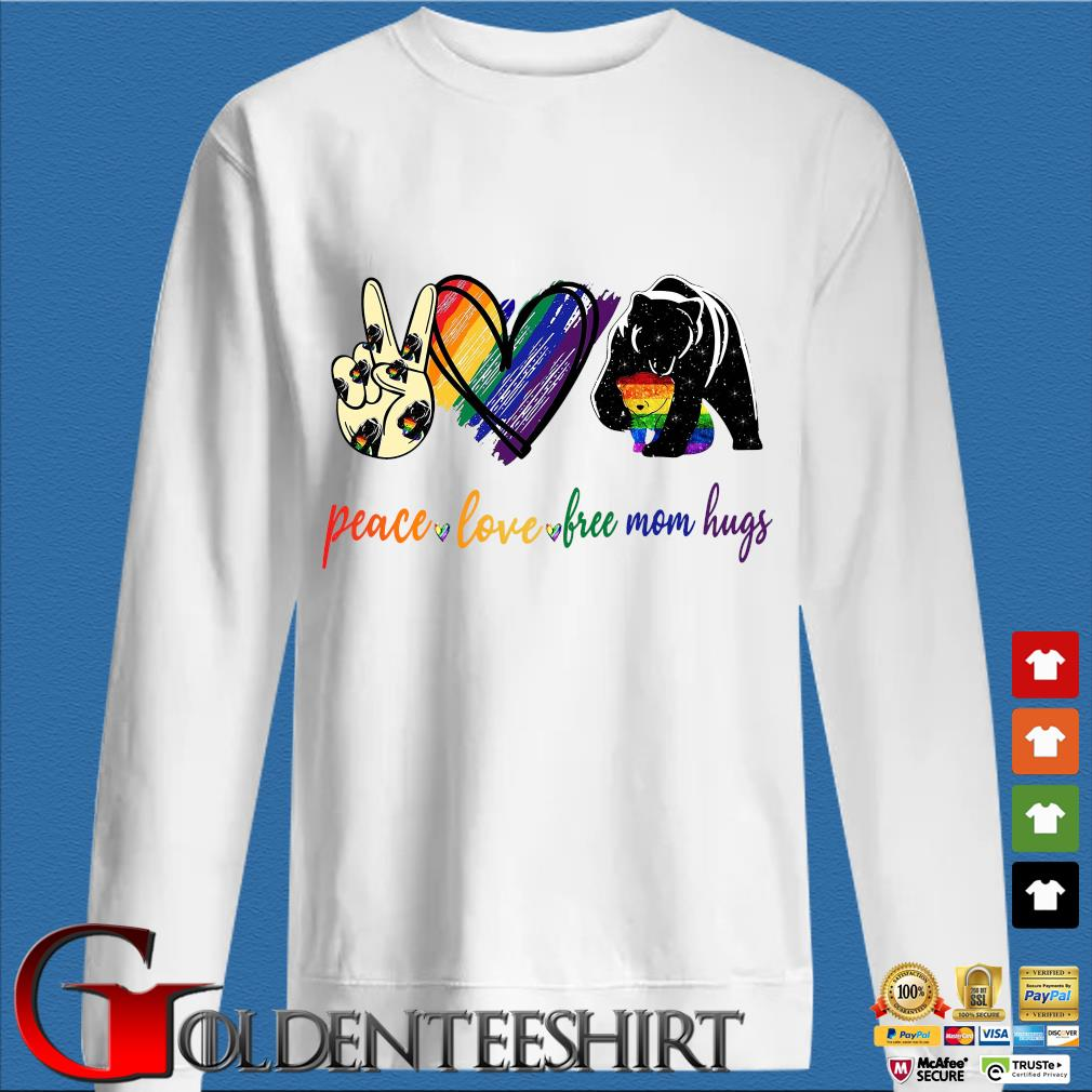 Bear Peace Love Free Mom Hugs Lbgt Shirt trang Sweater