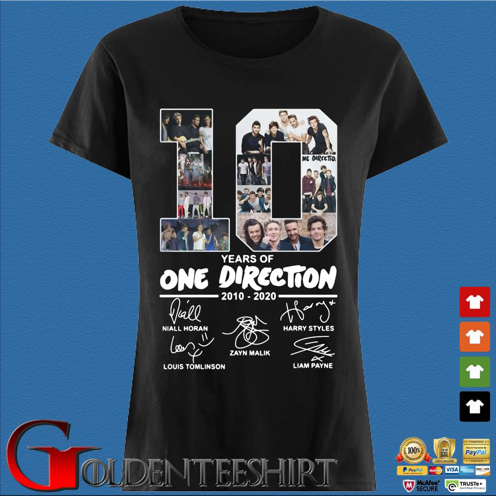 10 Years Of One Direction 2010 2020 Signatures Shirt Den Ladies
