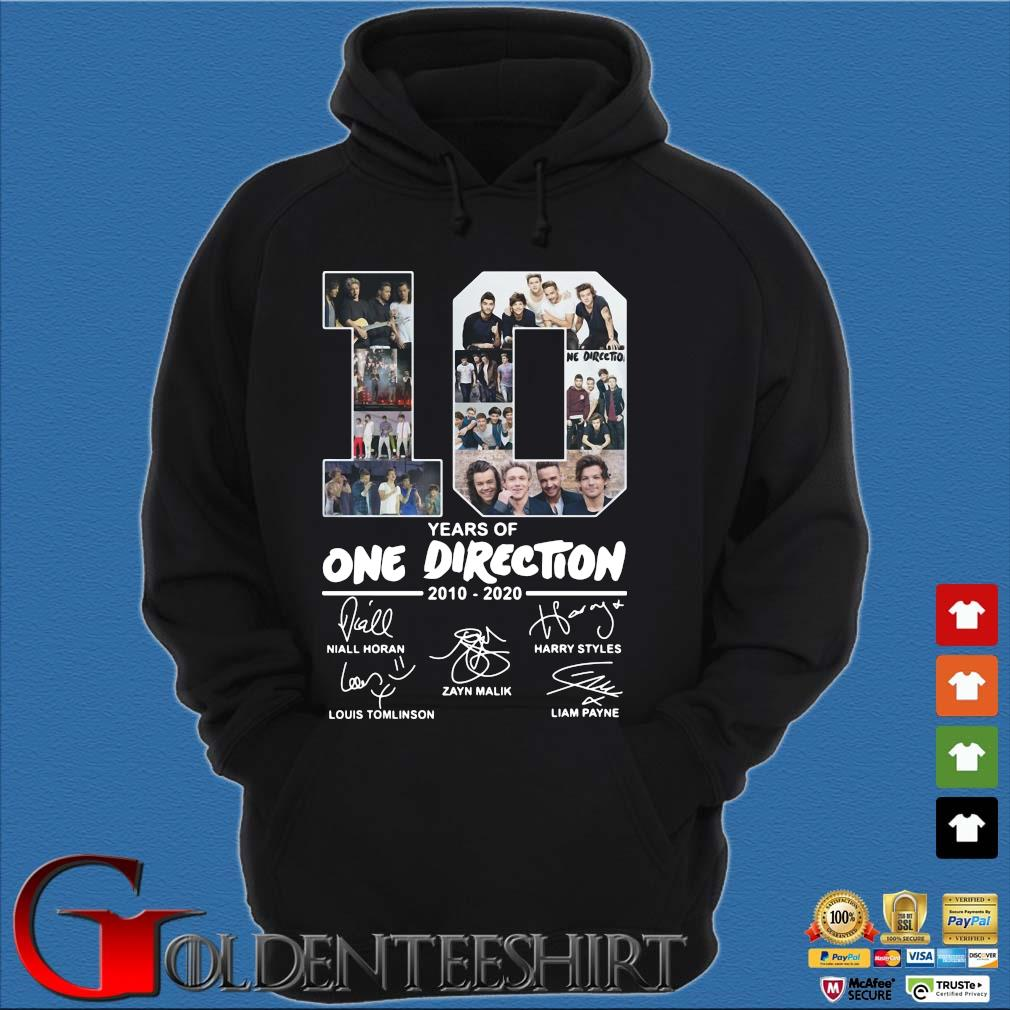10 Years Of One Direction 2010 2020 Signatures Shirt Hoodie đen