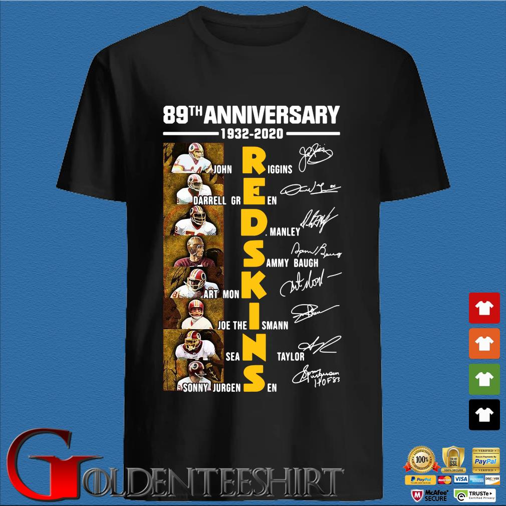 89th anniversary redskins John Riggins Darrell Green signatures shirt
