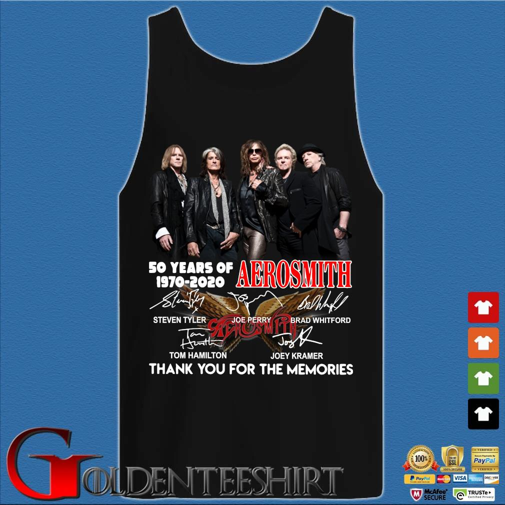 Aerosmith 50 Years Of 1970-2020 Signatures Thank You For The Memories Shirt Tank top den