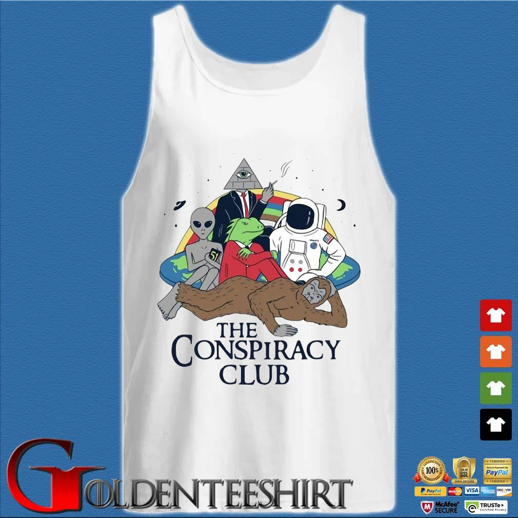 Alien Bigfoot Astronaut The Conspiracy Club Shirt Tank top trắng